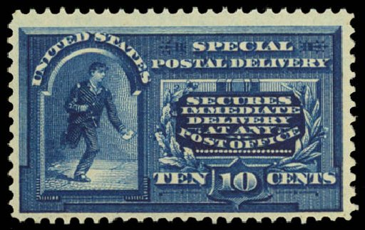 US Stamps Values Scott Catalog E4: 10c 1894 Special Delivery. Daniel Kelleher Auctions, Dec 2014, Sale 661, Lot 443