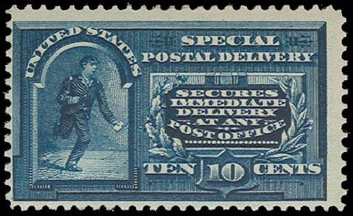 Costs of US Stamp Scott Catalog #E4: 1894 10c Special Delivery. H.R. Harmer, Oct 2014, Sale 3006, Lot 1496