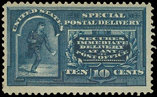 Value of US Stamps Scott # E5: 10c 1895 Special Delivery. H.R. Harmer, Oct 2014, Sale 3006, Lot 1498