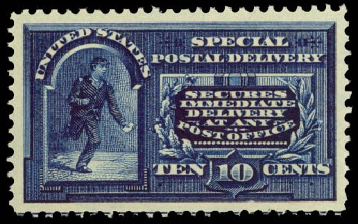 Prices of US Stamp Scott Cat. E5: 1895 10c Special Delivery. Daniel Kelleher Auctions, Aug 2015, Sale 672, Lot 2911