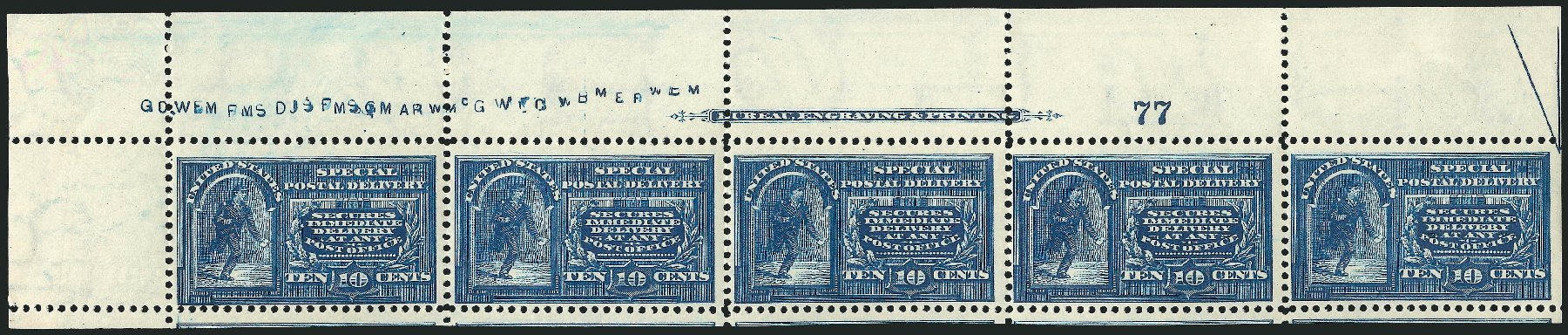 US Stamp Value Scott Cat. E5: 10c 1895 Special Delivery. Robert Siegel Auction Galleries, Dec 2014, Sale 1090, Lot 1622