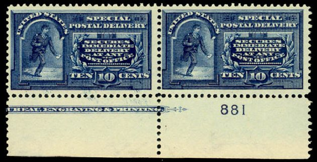 Value of US Stamp Scott Cat. # E5 - 1895 10c Special Delivery. Daniel Kelleher Auctions, Oct 2014, Sale 660, Lot 2523