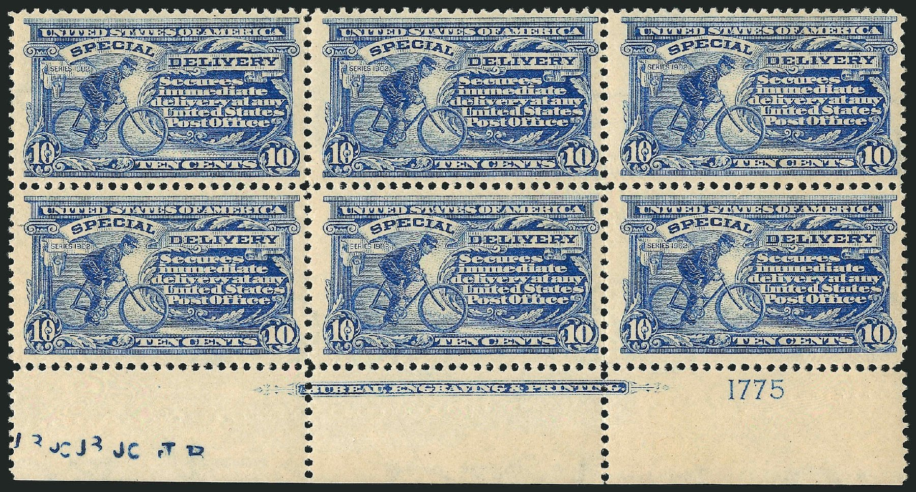 Value of US Stamps Scott E6: 10c 1902 Special Delivery. Robert Siegel Auction Galleries, Apr 2015, Sale 1096, Lot 833