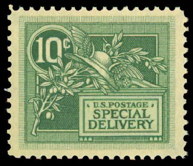 US Stamp Price Scott Catalog #E7 - 10c 1908 Special Delivery. Daniel Kelleher Auctions, May 2015, Sale 669, Lot 3282