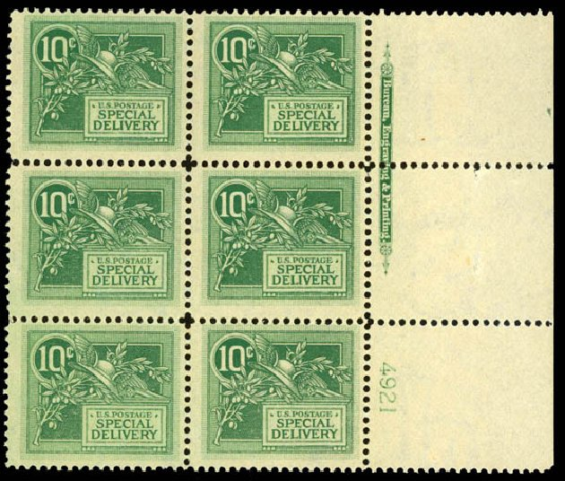 US Stamp Prices Scott Catalog #E7: 1908 10c Special Delivery. Daniel Kelleher Auctions, Aug 2015, Sale 672, Lot 2912