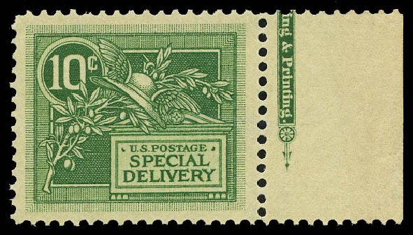 US Stamp Values Scott Cat. # E7 - 1908 10c Special Delivery. Daniel Kelleher Auctions, May 2015, Sale 669, Lot 3283