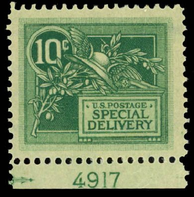 Costs of US Stamp Scott Catalogue E7: 1908 10c Special Delivery. Daniel Kelleher Auctions, Sep 2014, Sale 655, Lot 846