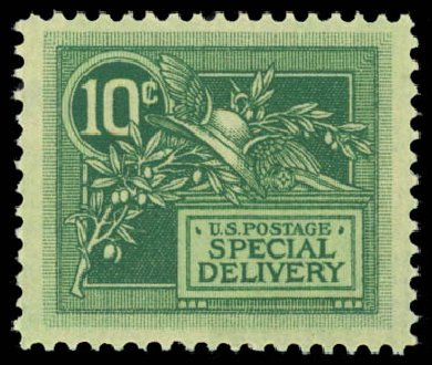 Value of US Stamp Scott Catalog #E7 - 1908 10c Special Delivery. Daniel Kelleher Auctions, Dec 2014, Sale 661, Lot 446
