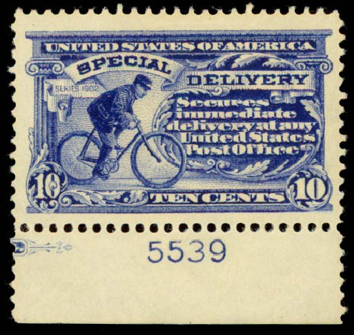 US Stamps Value Scott Catalog # E8: 10c 1911 Special Delivery. Daniel Kelleher Auctions, May 2015, Sale 669, Lot 3285