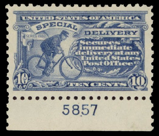 Price of US Stamps Scott Cat. E9 - 1914 10c Special Delivery. Daniel Kelleher Auctions, May 2015, Sale 669, Lot 3290