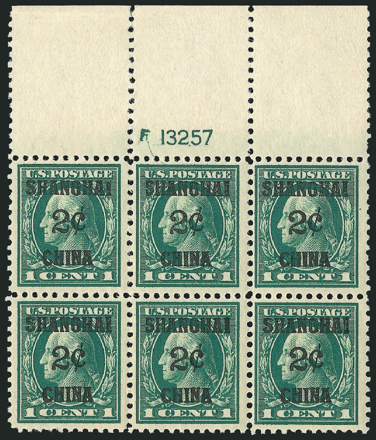 Costs of US Stamp Scott Catalog K1: 2c 1919 China Shanghai on 1c. Robert Siegel Auction Galleries, Mar 2014, Sale 1067, Lot 1697