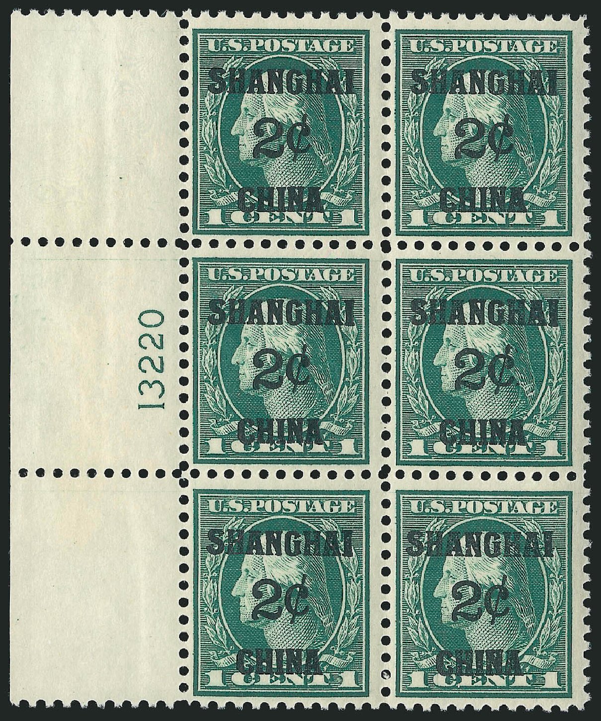 US Stamp Value Scott Catalogue #K1: 2c 1919 China Shanghai on 1c. Robert Siegel Auction Galleries, Apr 2015, Sale 1096, Lot 874