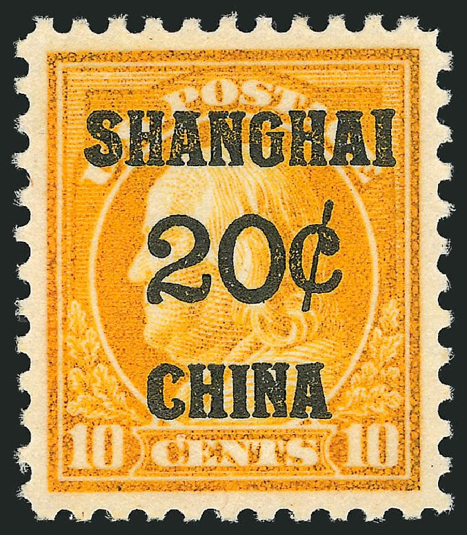 Cost of US Stamp Scott # K10 - 1919 20c China Shanghai on 10c. Robert Siegel Auction Galleries, Dec 2011, Sale 1017, Lot 947