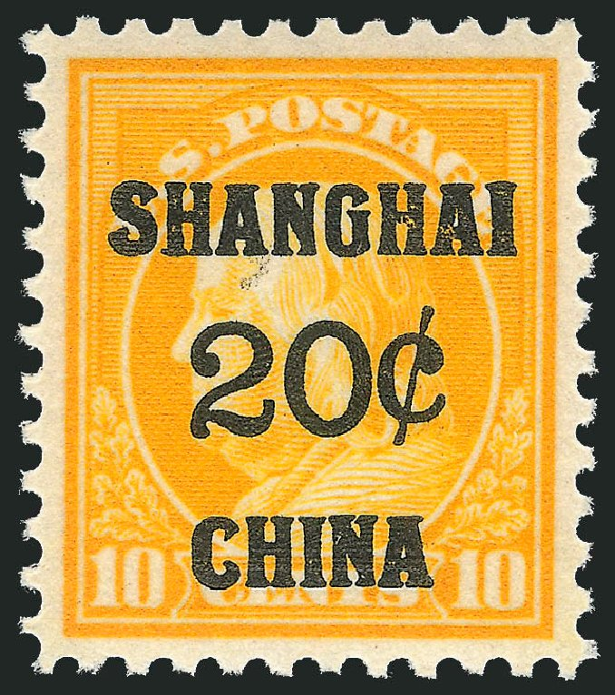 Price of US Stamps Scott Catalogue # K10: 1919 20c China Shanghai on 10c. Robert Siegel Auction Galleries, Jul 2014, Sale 1077, Lot 438