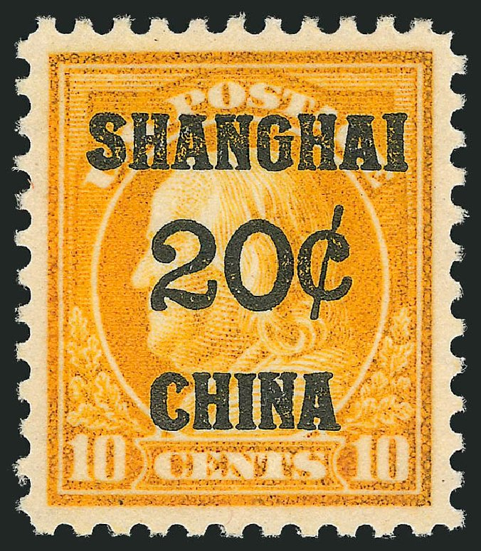 Value of US Stamps Scott # K10 - 1919 20c China Shanghai on 10c. Robert Siegel Auction Galleries, Mar 2015, Sale 1094, Lot 129
