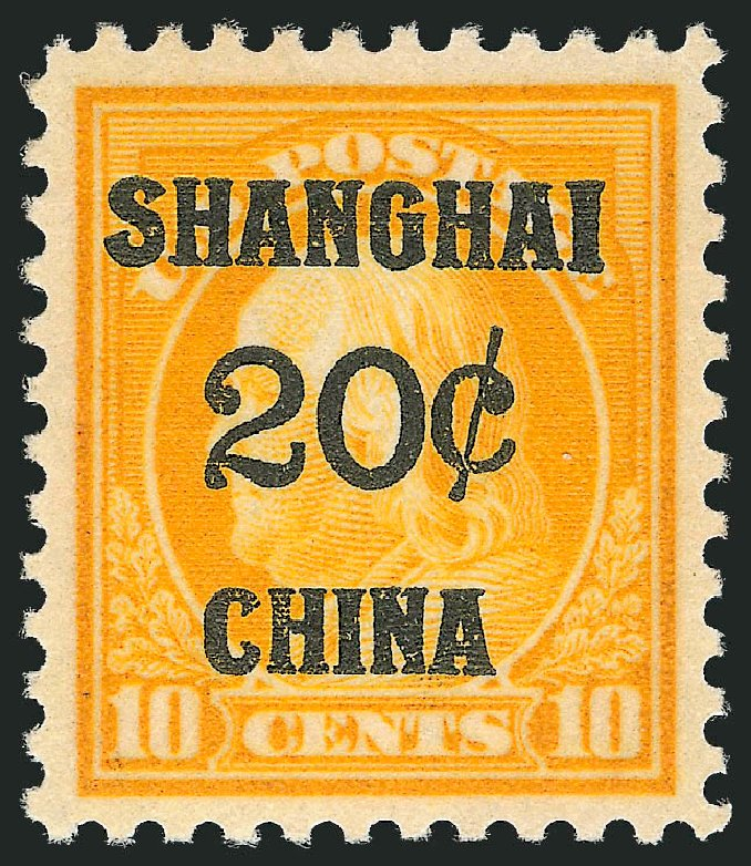 Values of US Stamps Scott Catalogue K10 - 20c 1919 China Shanghai on 10c. Robert Siegel Auction Galleries, Oct 2011, Sale 1014, Lot 2330
