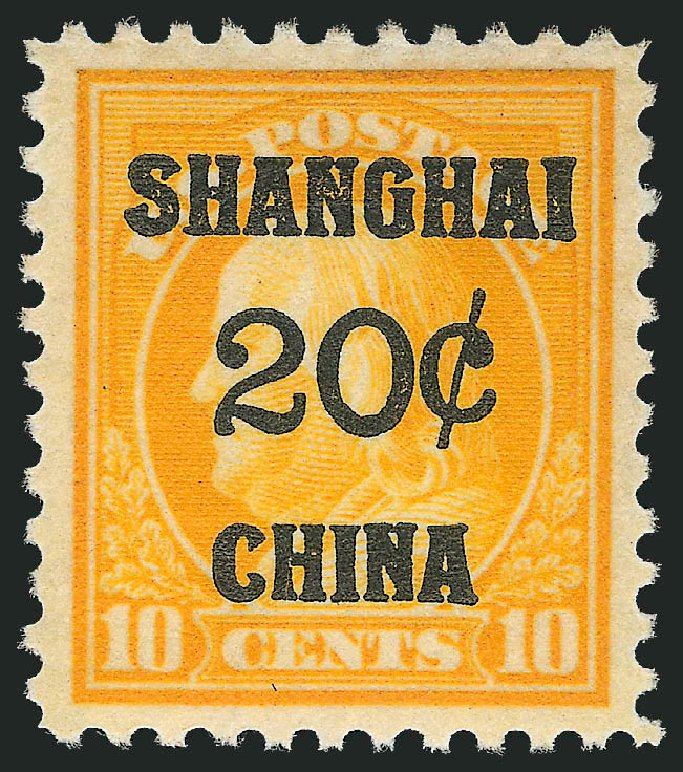 US Stamp Prices Scott Catalogue K10 - 1919 20c China Shanghai on 10c. Robert Siegel Auction Galleries, Nov 2013, Sale 1061, Lot 4140