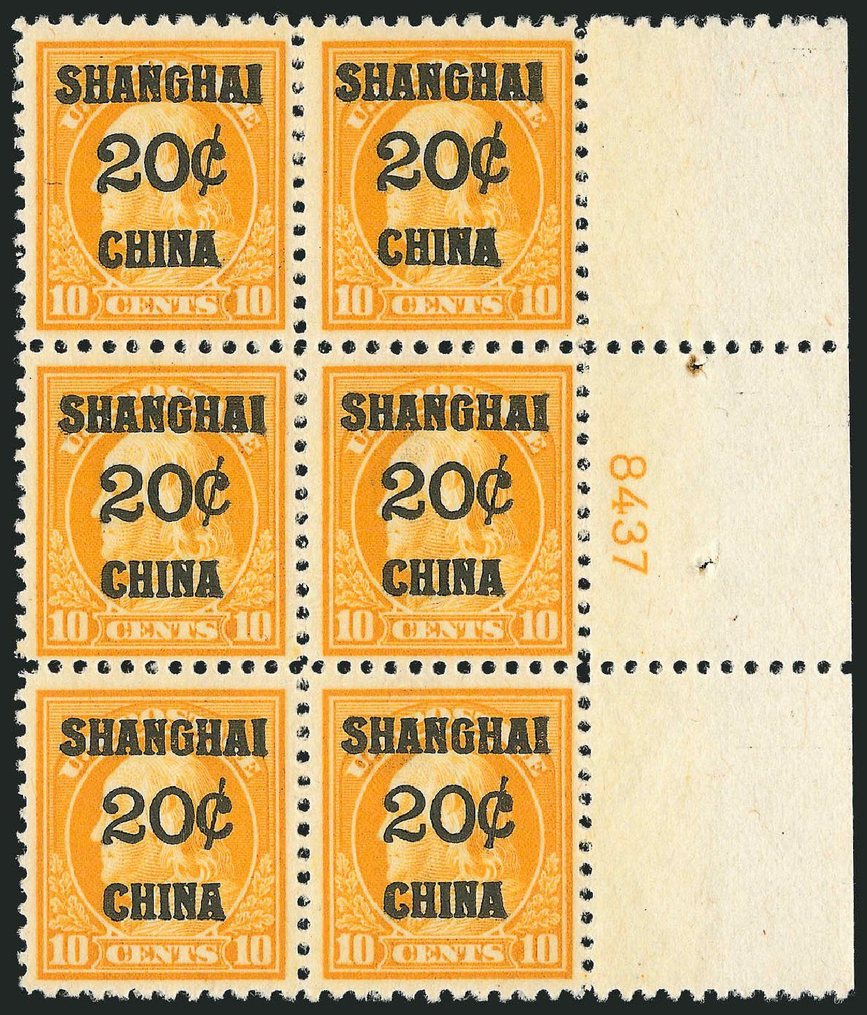 Costs of US Stamp Scott Catalog #K10 - 1919 20c China Shanghai on 10c. Robert Siegel Auction Galleries, Mar 2015, Sale 1094, Lot 130