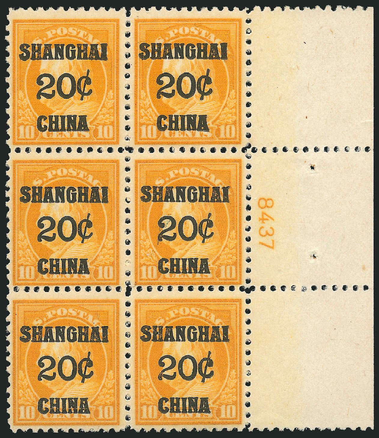 US Stamp Prices Scott Cat. # K10: 1919 20c China Shanghai on 10c. Robert Siegel Auction Galleries, Apr 2015, Sale 1096, Lot 880
