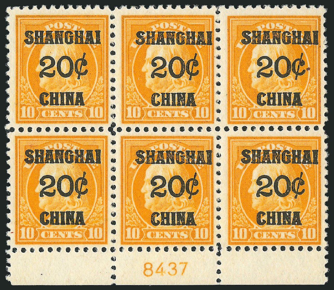 Value of US Stamp Scott Cat. # K10: 20c 1919 China Shanghai on 10c. Robert Siegel Auction Galleries, Oct 2010, Sale 997, Lot 6240