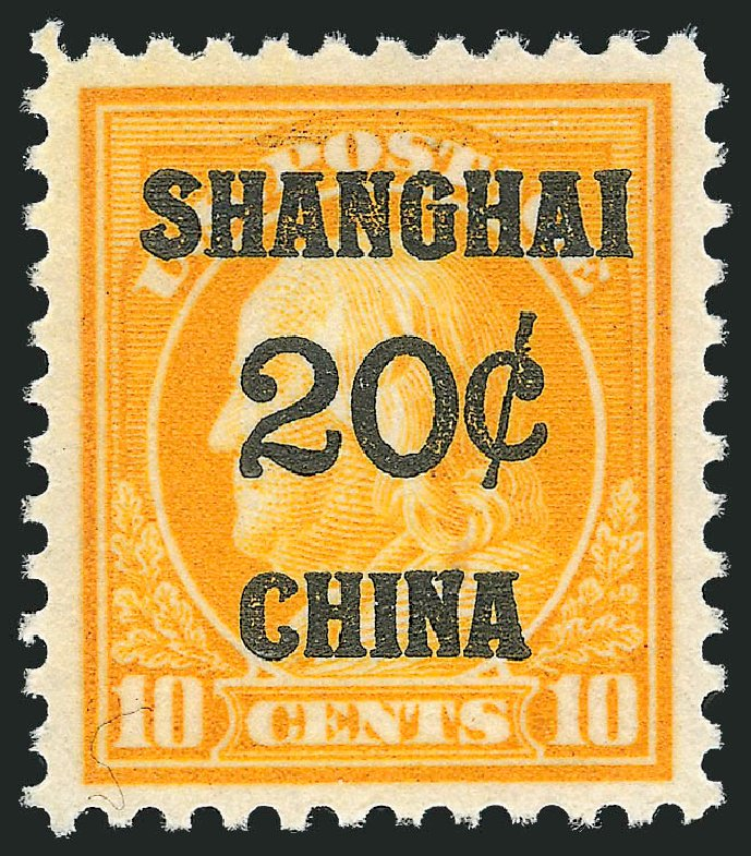 US Stamp Values Scott Catalogue #K10: 20c 1919 China Shanghai on 10c. Robert Siegel Auction Galleries, Oct 2012, Sale 1033, Lot 4293
