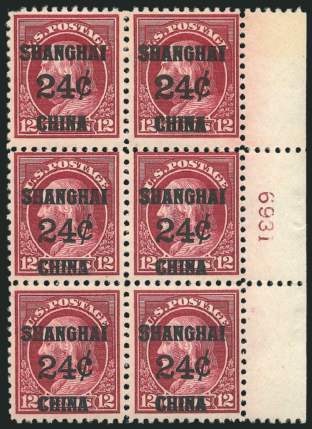 Prices of US Stamp Scott Catalogue K11 - 24c 1919 China Shanghai on 12c. Robert Siegel Auction Galleries, Apr 2015, Sale 1096, Lot 881