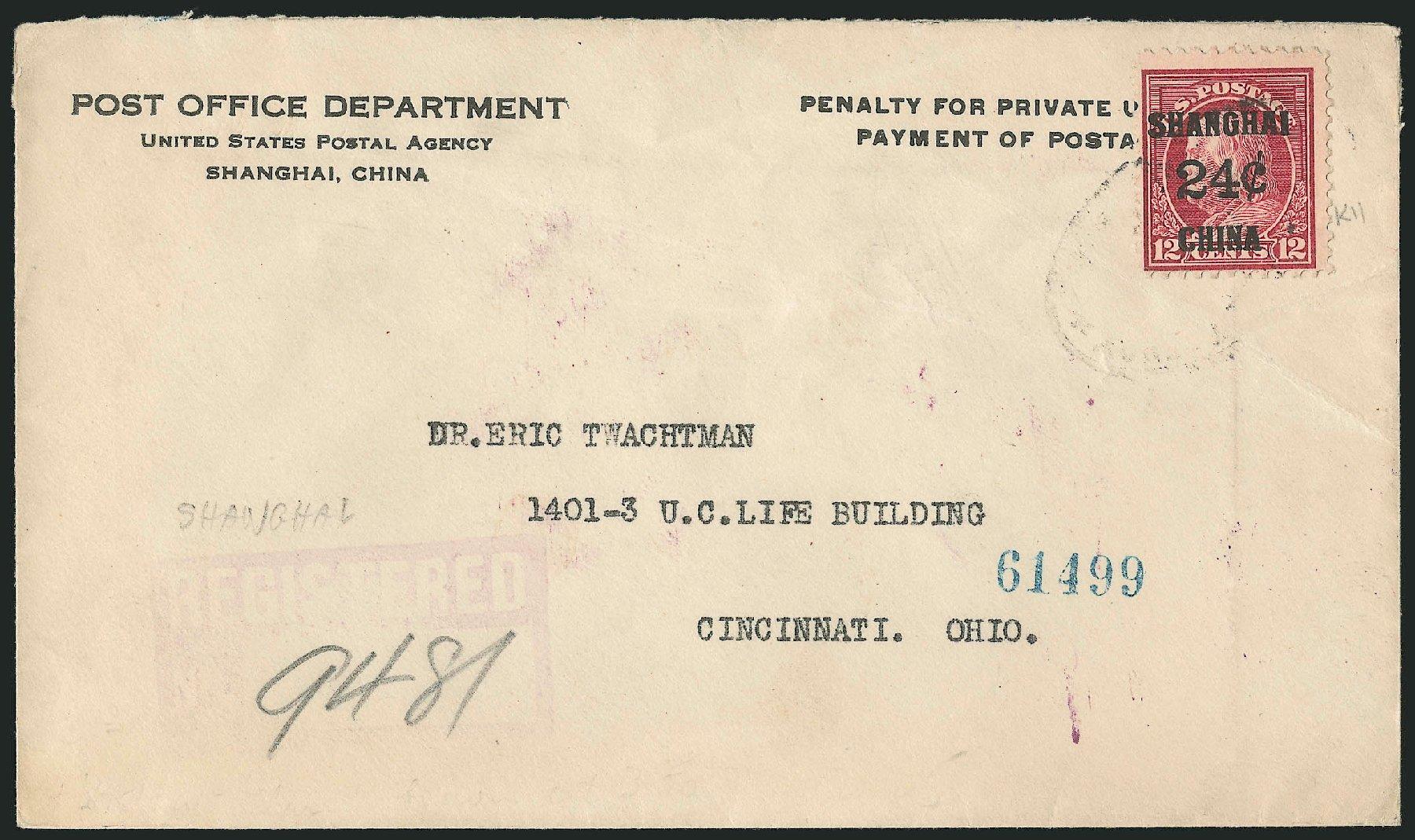 Costs of US Stamp Scott Cat. # K11: 1919 24c China Shanghai on 12c. Robert Siegel Auction Galleries, Jun 2015, Sale 1105, Lot 2654