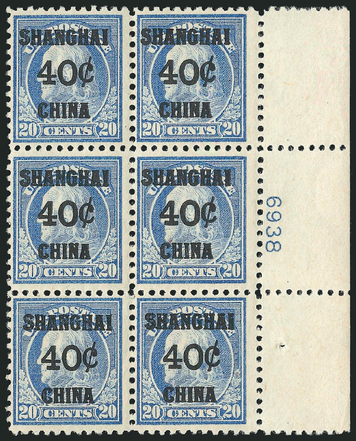 US Stamp Price Scott Cat. # K13 - 1919 40c China Shanghai on 20c. Robert Siegel Auction Galleries, Mar 2015, Sale 1094, Lot 133