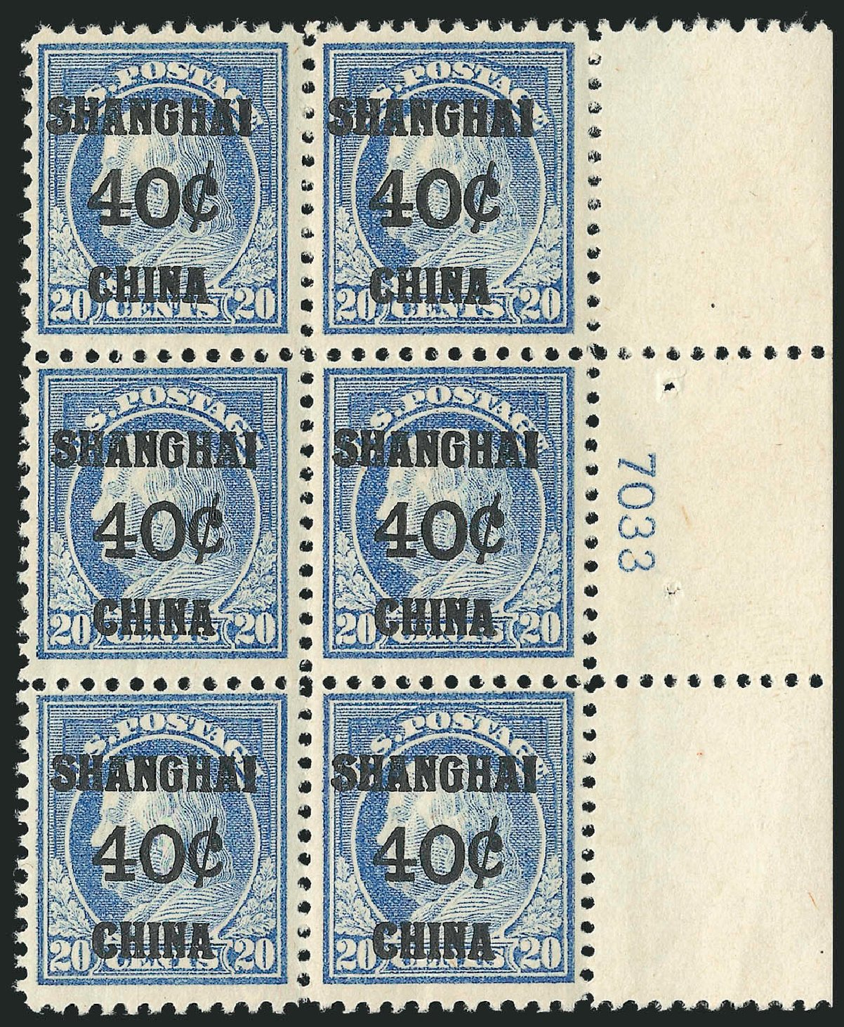 US Stamps Price Scott Catalogue # K13: 1919 40c China Shanghai on 20c. Robert Siegel Auction Galleries, Apr 2015, Sale 1096, Lot 883