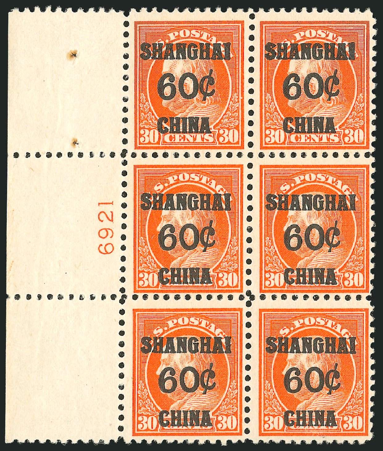Costs of US Stamp Scott Cat. # K14: 60c 1919 China Shanghai on 30c. Robert Siegel Auction Galleries, Oct 2011, Sale 1014, Lot 2335
