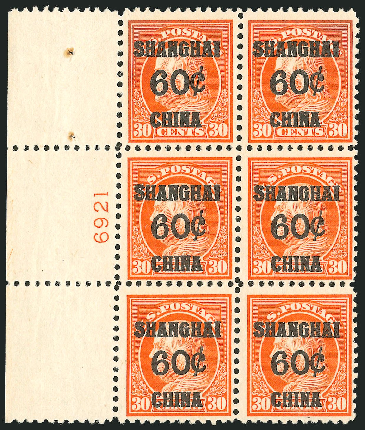 US Stamps Values Scott # K14 - 60c 1919 China Shanghai on 30c. Robert Siegel Auction Galleries, Jun 2012, Sale 1026, Lot 1536