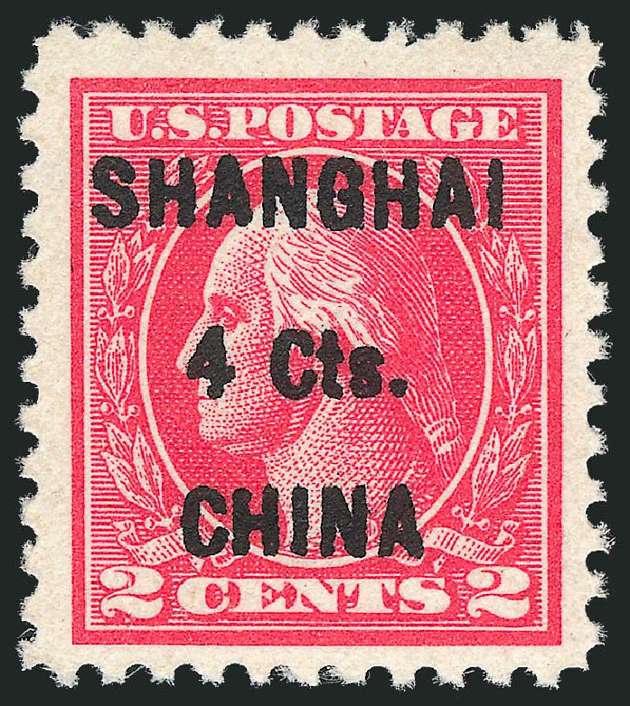 US Stamp Price Scott Cat. K18: 4c 1922 China Shanghai on 2c. Robert Siegel Auction Galleries, Oct 2011, Sale 1014, Lot 2340