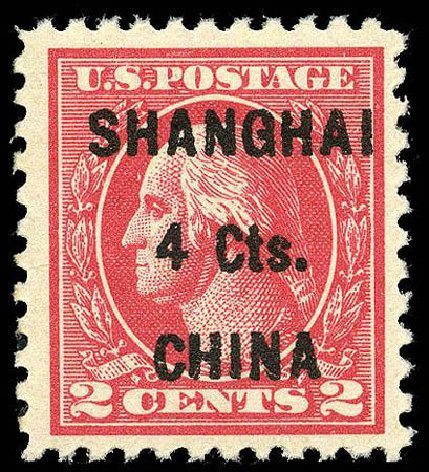 US Stamp Value Scott Cat. #K18 - 1922 4c China Shanghai on 2c. Matthew Bennett International, Apr 2008, Sale 326, Lot 671