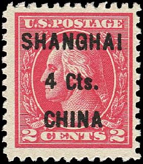 US Stamps Prices Scott Cat. #K18: 4c 1922 China Shanghai on 2c. Regency-Superior, Jan 2015, Sale 109, Lot 1534