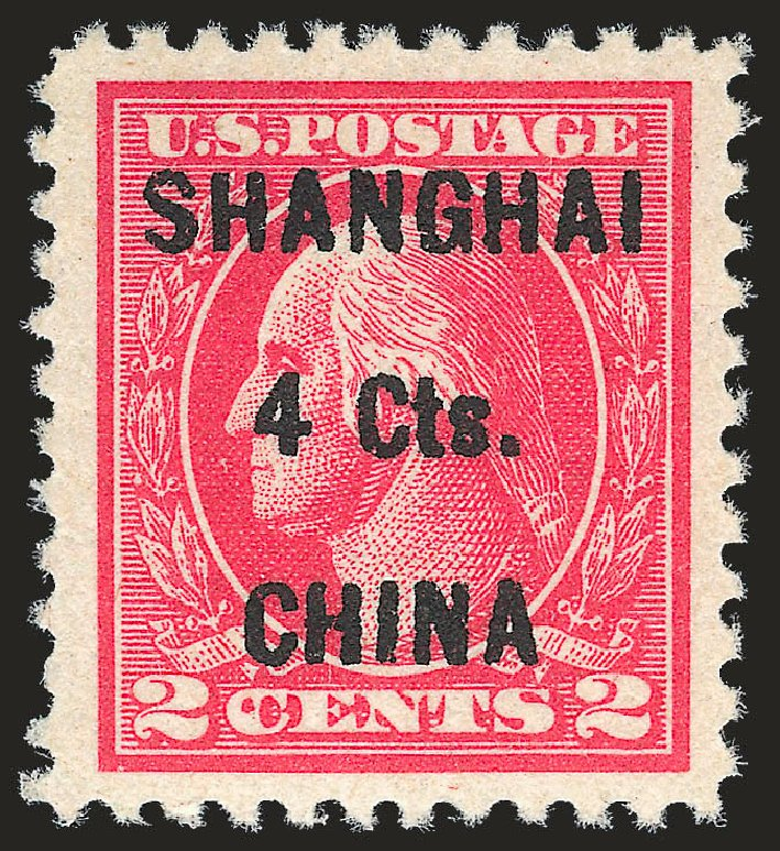 US Stamps Value Scott Catalog #K18: 1922 4c China Shanghai on 2c. Robert Siegel Auction Galleries, Jun 2010, Sale 992, Lot 2624