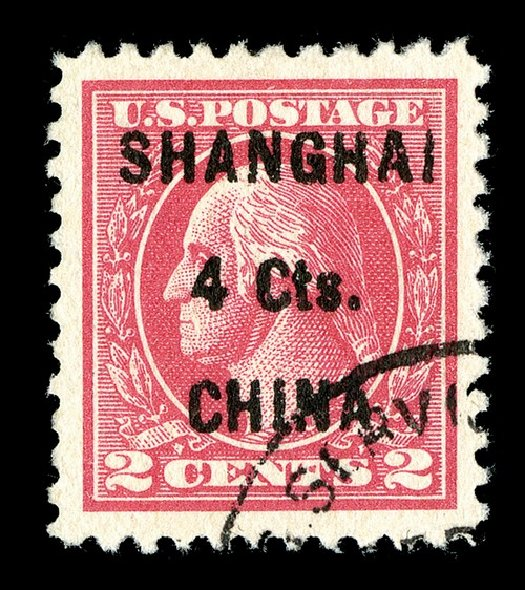 US Stamps Value Scott #K18 - 1922 4c China Shanghai on 2c. Spink Shreves Galleries, May 2014, Sale 148, Lot 394