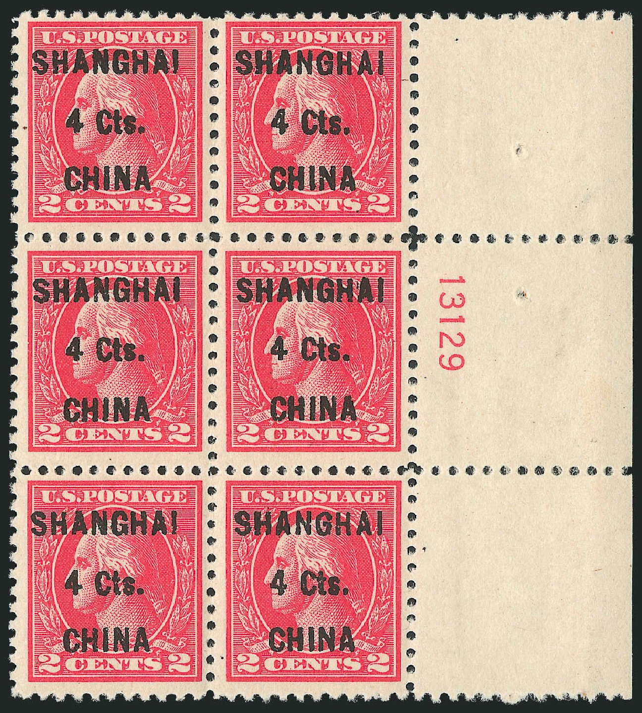 US Stamps Value Scott Catalog K18: 4c 1922 China Shanghai on 2c. Robert Siegel Auction Galleries, Oct 2010, Sale 997, Lot 6255