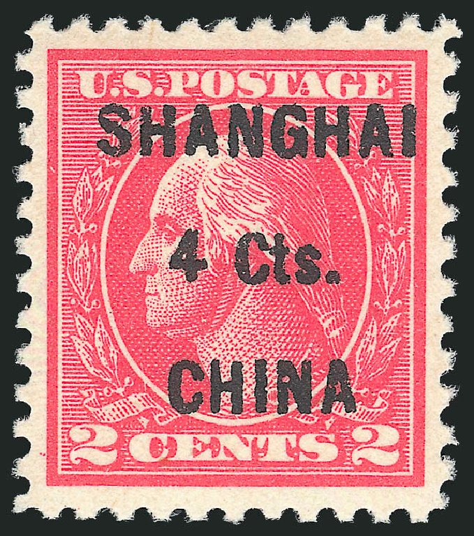 Prices of US Stamp Scott Cat. K18: 4c 1922 China Shanghai on 2c. Robert Siegel Auction Galleries, Dec 2014, Sale 1090, Lot 1662
