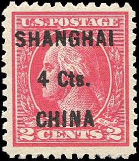 Prices of US Stamp Scott Catalogue K18: 4c 1922 China Shanghai on 2c. Regency-Superior, Nov 2014, Sale 108, Lot 1203