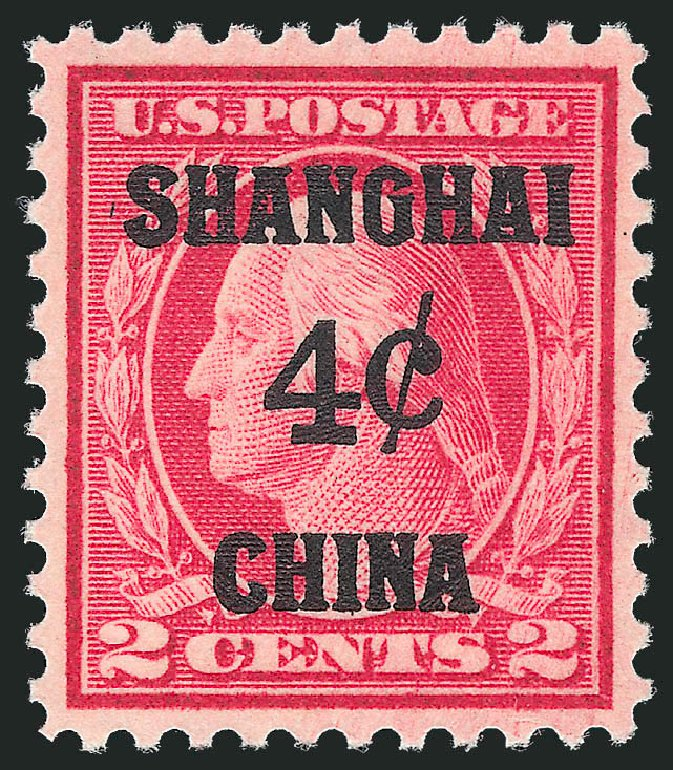 US Stamps Values Scott Catalogue #K2: 1919 4c China Shanghai on 2c. Robert Siegel Auction Galleries, Oct 2012, Sale 1033, Lot 4290