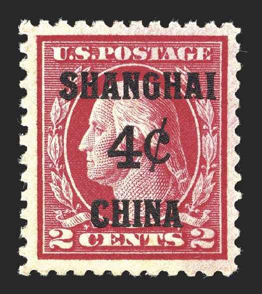 Value of US Stamps Scott Catalogue K2: 1919 4c China Shanghai on 2c. Spink Shreves Galleries, Mar 2013, Sale 142, Lot 450