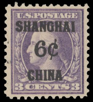 Price of US Stamp Scott Catalog # K3 - 6c 1919 China Shanghai on 3c. Daniel Kelleher Auctions, Aug 2015, Sale 672, Lot 2957