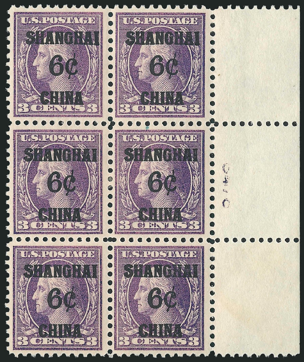 Price of US Stamp Scott Catalogue K3 - 6c 1919 China Shanghai on 3c. Robert Siegel Auction Galleries, Jun 2009, Sale 975, Lot 2212