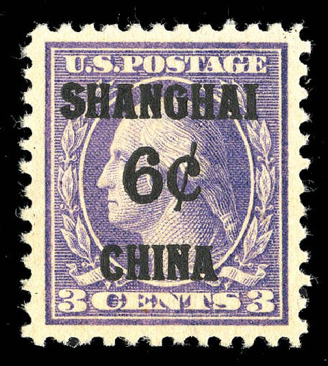 Value of US Stamps Scott Catalog # K3: 1919 6c China Shanghai on 3c. Matthew Bennett International, Sep 2012, Sale 345, Lot 386