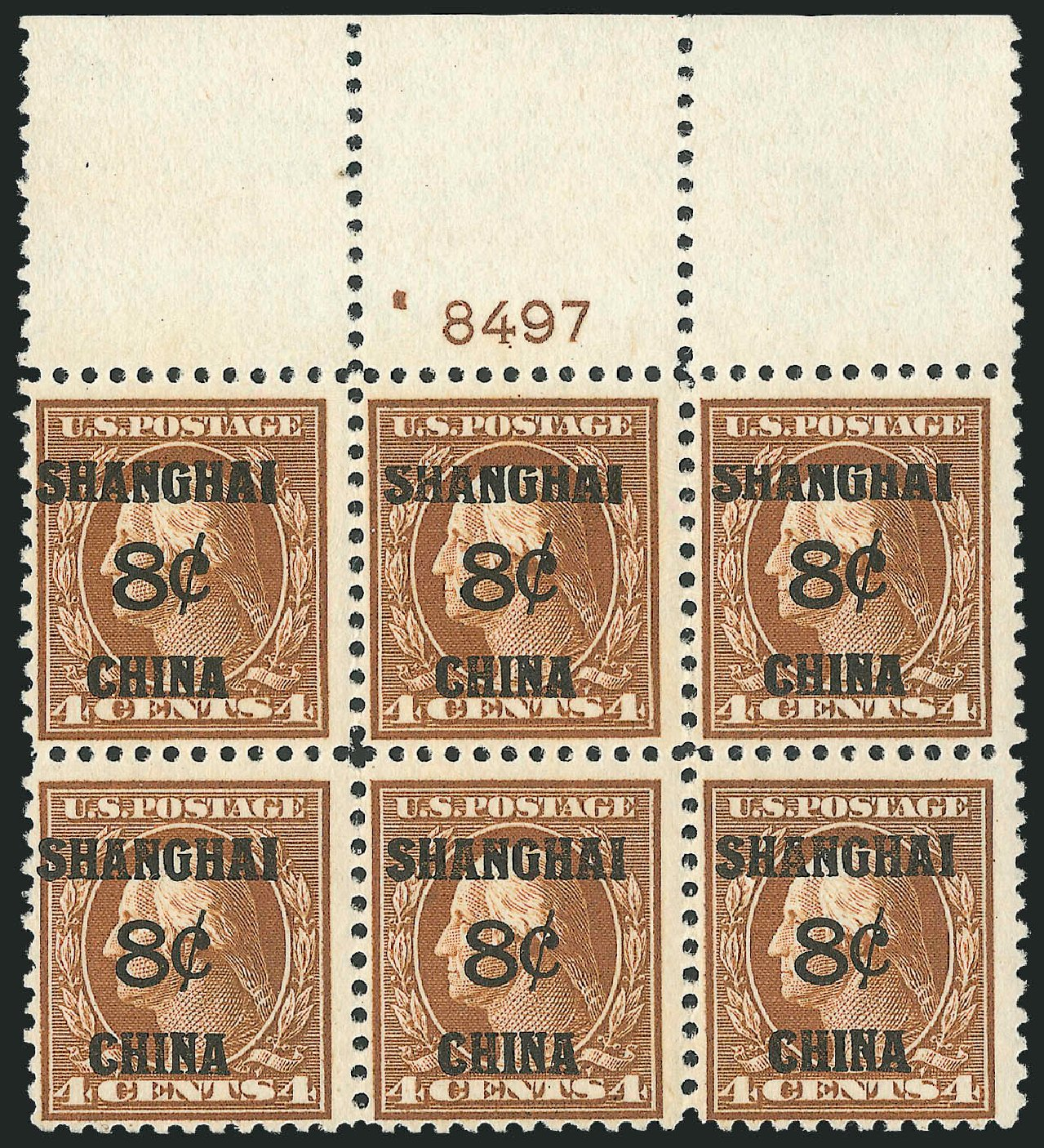 Cost of US Stamp Scott Cat. # K4: 1919 8c China Shanghai on 4c. Robert Siegel Auction Galleries, Oct 2010, Sale 997, Lot 6235