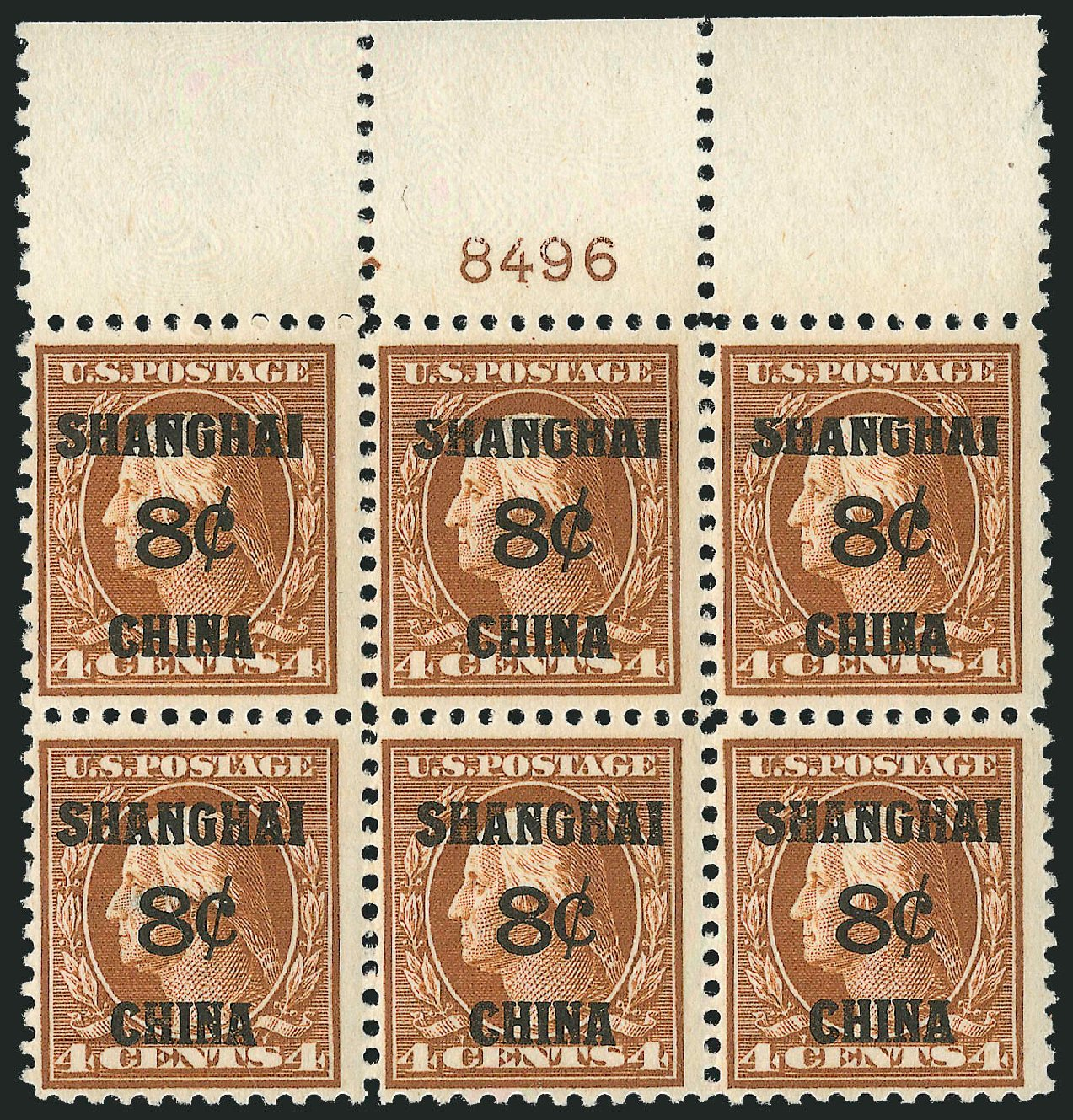 US Stamp Values Scott # K4: 8c 1919 China Shanghai on 4c. Robert Siegel Auction Galleries, Apr 2015, Sale 1096, Lot 876