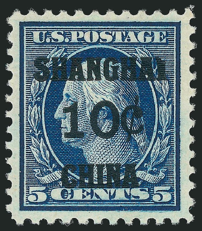 Values of US Stamp Scott K5 - 1919 10c China Shanghai on 5c. Robert Siegel Auction Galleries, Jul 2013, Sale 1050, Lot 755