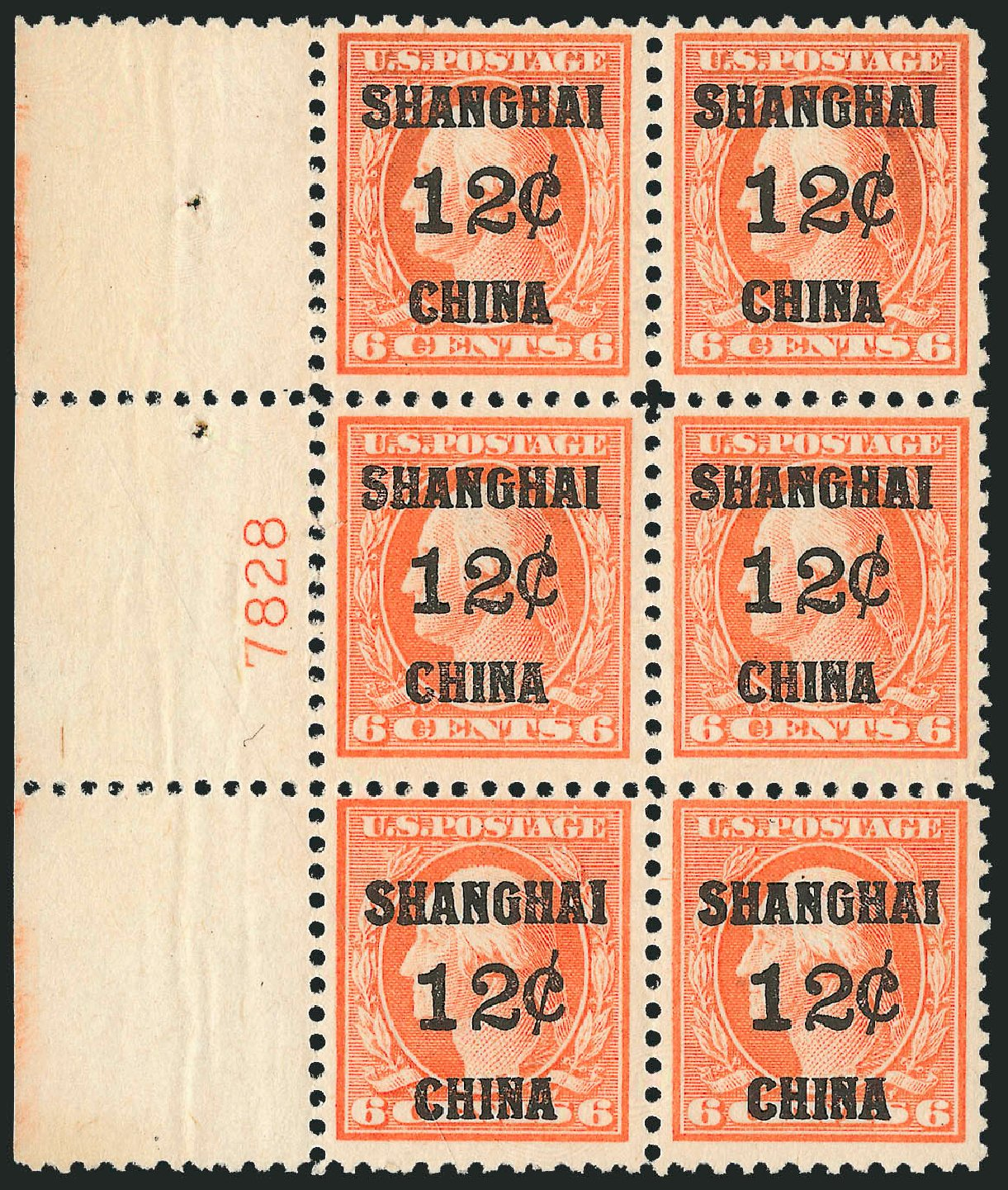 Cost of US Stamp Scott Catalogue #K6 - 1919 12c China Shanghai on 6c. Robert Siegel Auction Galleries, Jul 2014, Sale 1077, Lot 437