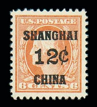 US Stamp Price Scott Catalog #K6: 1919 12c China Shanghai on 6c. Matthew Bennett International, Jun 2007, Sale 319, Lot 1659