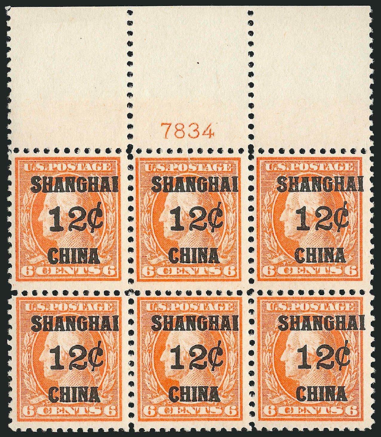 Price of US Stamp Scott Cat. K6: 1919 12c China Shanghai on 6c. Robert Siegel Auction Galleries, Mar 2015, Sale 1094, Lot 123